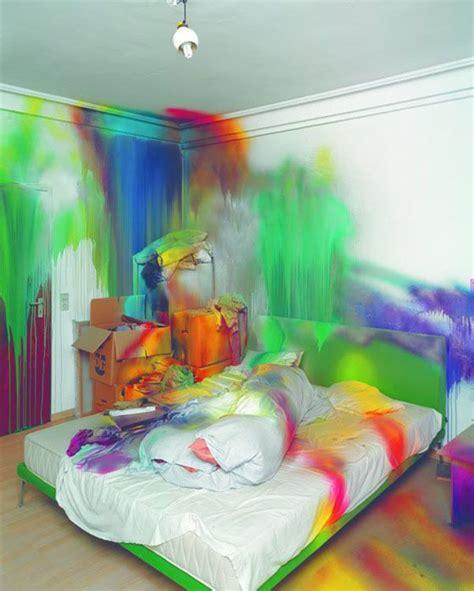 bed splash katharina grosse blend dripping interior multicoloured neon paint