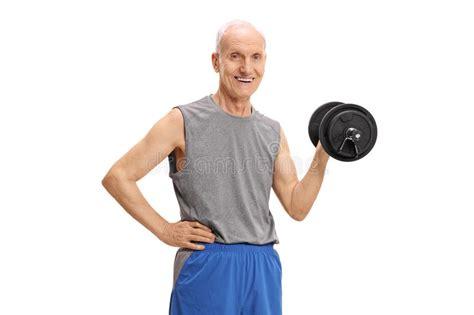 exercising dumbbell exercise mature background hold isolated