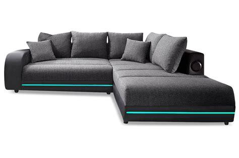 ecksofa mit led via ecksofa xl trentino mit led schwarz sofas