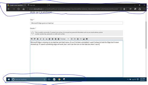 windows top bar missing microsoft edge on task bar microsoft community