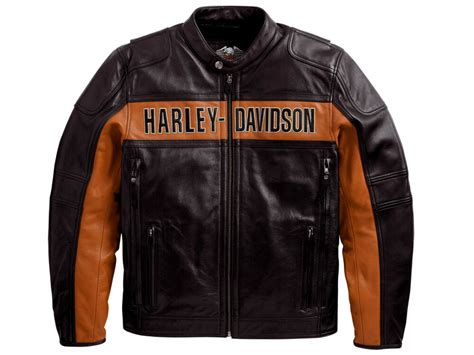 Harley Davidson Men's Black Orange Classic Riding Leather