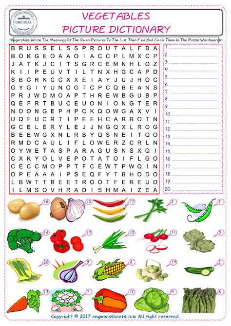 vegetables word search  crossword match