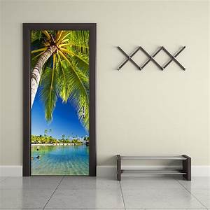 Funlife palm tree waterproof door sticker living room