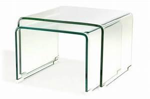 Table Basse Gigogne Verre : set 2 tables basses gigogne verre transparent ottawa ~ Teatrodelosmanantiales.com Idées de Décoration
