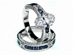 engagement ring oval shape diamond vintage engagement With wedding rings with sapphire accents