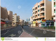 Typical Downtown Street In Old City Center Of Dubai