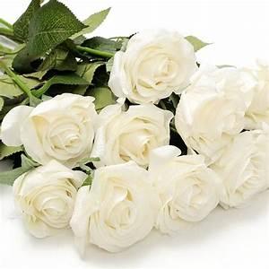 Rose Blanche Artificielle : uk 10 20 t tes blanche roses fleur artificielle d coration maison mariage bureau 10 heads white ~ Teatrodelosmanantiales.com Idées de Décoration