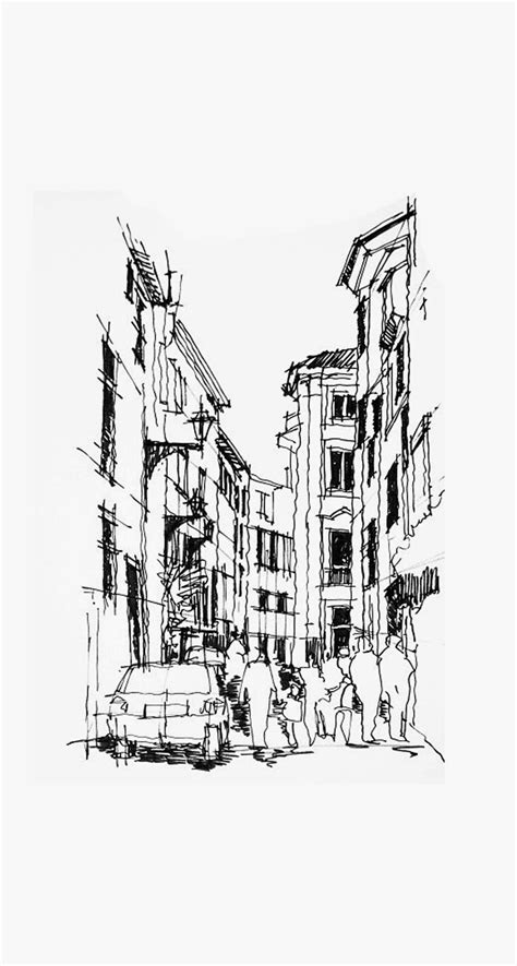 city street pencil sketch android wallpaper