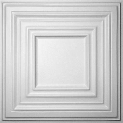 Ceilume Ceiling Tiles by Ceilume Bistro White 2 Ft X 2 Ft Lay In Or Glue Up