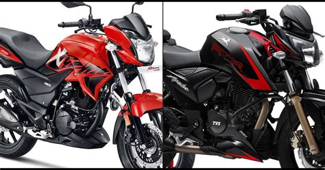 quick comparison hero xtreme   tvs apache rtr