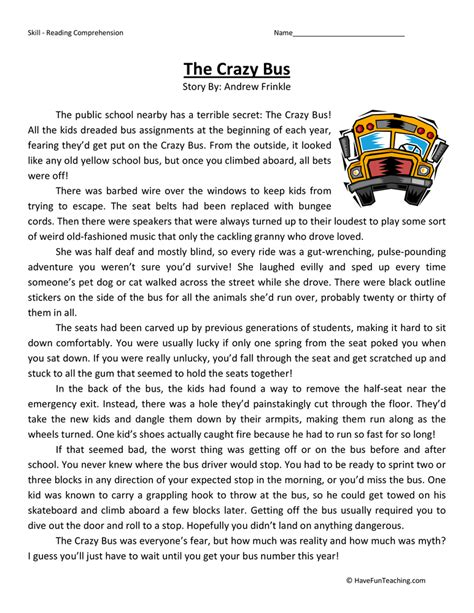 reading comprehension fifth class comprehension