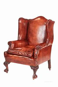 Antique, Leather, Wing, Back, Library, Chair