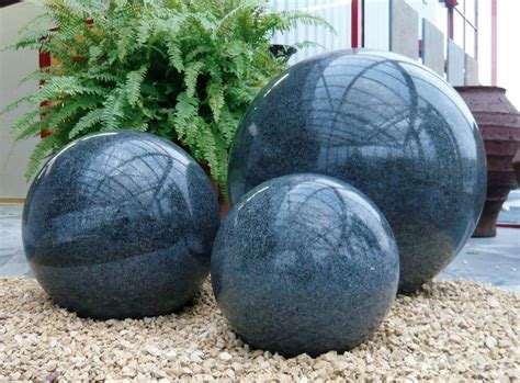 Keramikkugel Garten  Granitkugel Poliert Anthrazit 30 Cm