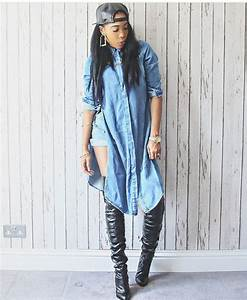 Top style dope fashion streetstyle streetwear denim jacket tumblr outfit black heels ...