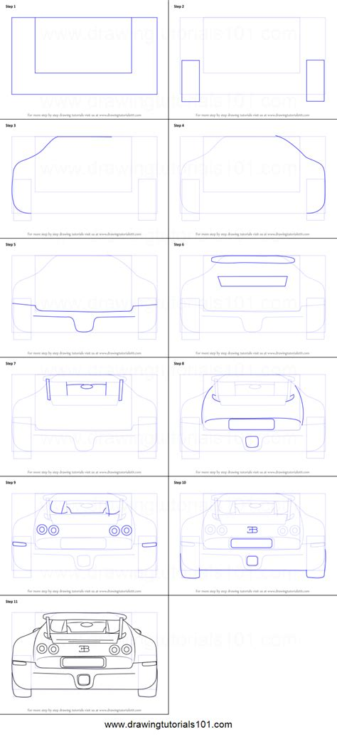 Sketch out the details in the front of the bugatti such as the famous radiator grille, lines of the hood and headlights. How to Draw a Bugatti Veyron Rear printable step by step drawing sheet : DrawingTutorials101.com