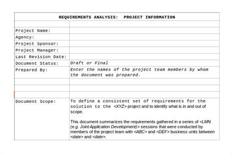 sample requirement analysis template   documents