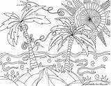 Coloring Pages Beach Summer Palm Colouring Printable Doodle Trees Adults Sheets Simple Nature Mediafire Activities sketch template