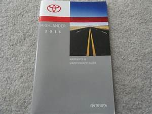 2015 Toyota Highlander Warranty And Maintenance Guide