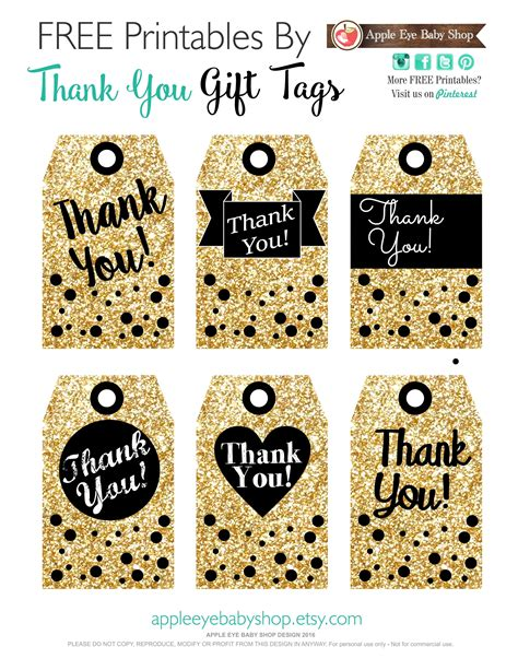 Printables Gift Tags Gold Glitter & Black