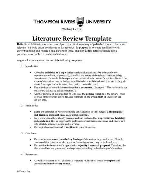 literature review template literature review template30564