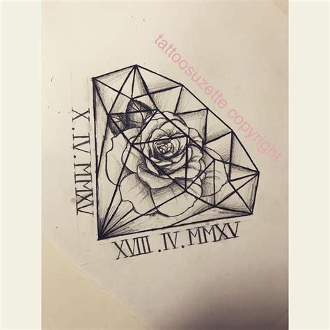 rose diamond tattoo design fleurs diamant tatouage