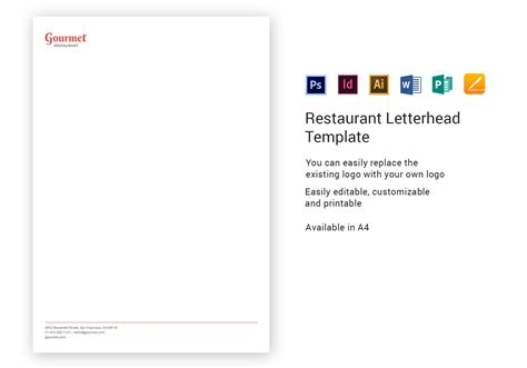 restaurant letterhead template  psd word publisher
