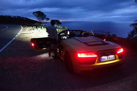 audi  spyder  driven red  day yellow  night