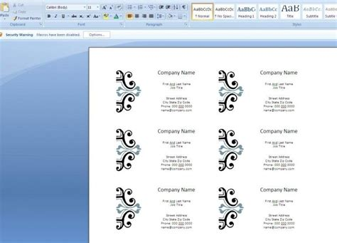 free template business card microsoft word invitation template microsoft word 2007 tattoos free