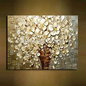 Wandbilder Wall Art : 100 handbemalte wei en bl ten der modernen abstrakten messer lgem lde auf leinwand wandbilder ~ Markanthonyermac.com Haus und Dekorationen