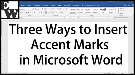 How To Add An Accent In Word by Three Ways To Insert Accent Marks In Microsoft Word