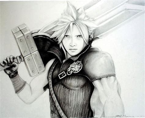 I dont know what i can say. Cloud ff7 Drawing by Sharon Branch