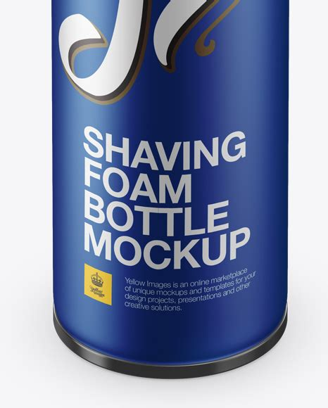 Matt bottle mockup in a symmetrical presentation set right in its middle with corresponding shadows at 5000 x 3750 pixels resolution. Matte Metallic Shaving Foam Bottle With Cap Mockup (High ...