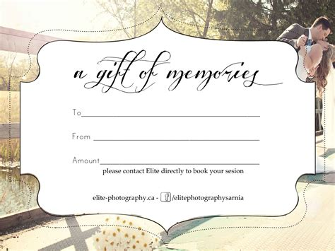free printable photography gift certificate template best photos of photography gift certificate template