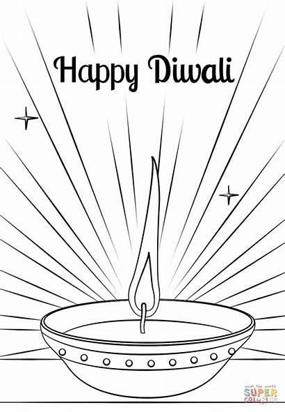 Diwali Coloring Diya Pages Draw Printable Worksheets