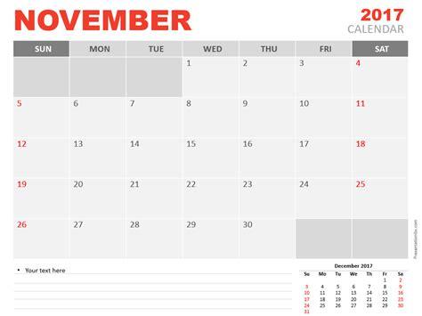 powerpoint calendar template 2017 november 2017 powerpoint calendar presentationgo