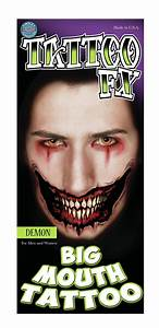 Big Mouth Temporary Tattoos Demon | Face Paint Supplies Perth