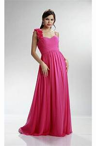 A Line Sweetheart Long Hot Pink Chiffon Ruched Bridesmaid ...