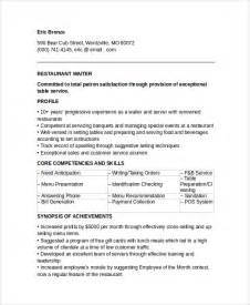 resume templates for waiters sle waiter resume 6 documents in pdf word