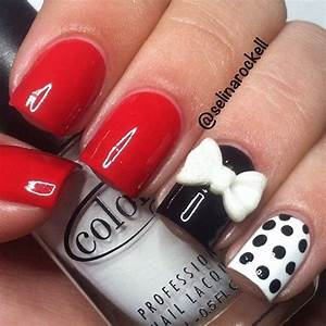 Red, White Andd Black Acrylic Nail Pictures, Photos, and ...