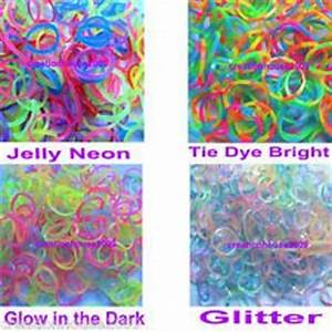 600 Rainbow Color Loom Rubber Bands Refill Glow Dark Tie