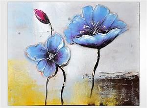 Tableau Fleurs Moderne : composition moderne de fleur tableau bleu ~ Teatrodelosmanantiales.com Idées de Décoration