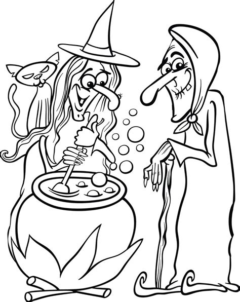 Printable Halloween Witches Coloring Page for Kids #1