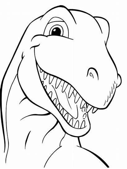 Dinosaur Coloring Pages Head Outline Dinosaurs Drawing