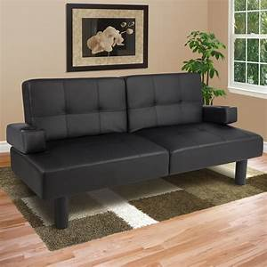 Leather faux fold down futon sofa bed couch sleeper for Leather sectional sofa with recliner and bed