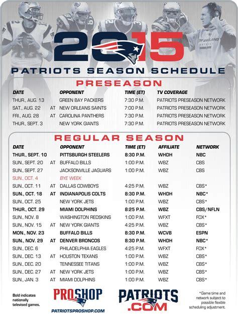 printable version    patriots schedule