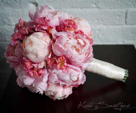 wedding bouquet pink peony  cherry blossom bouquet