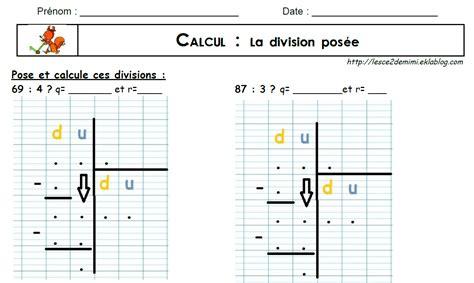 bureau tableau 2 en 1 la division posée par un nombre à 1 chiffre les ce2 de mimi