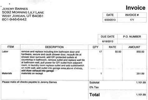10 Best Images Of Drywall Invoice Sample