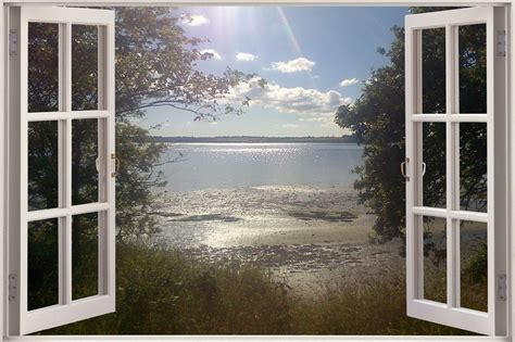 3d Window Ocean View Blue Sea Home Decor Wall Sticker: Huge 3D Window Exotic Ocean Lake View Wall Sticker Art