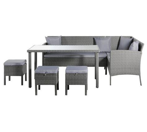Buy Garden Table And Chairs by Home 8 Seater Rattan Effect Corner Sofa Set Grey